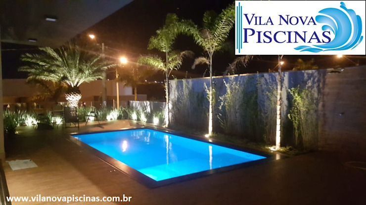 Vila Nova Piscinas Kolam renang halaman Beton Bertulang Blue