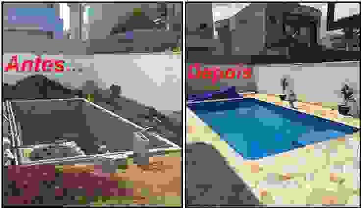 Piscina de concreto com revestimento em Vinil SODRAMAR por Vila Nova Piscinas