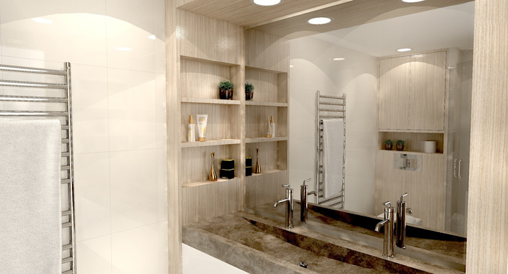 Render van de houten wasbakombouw met vakjes Moderne badkamers van Stefania Rastellino interior design Modern