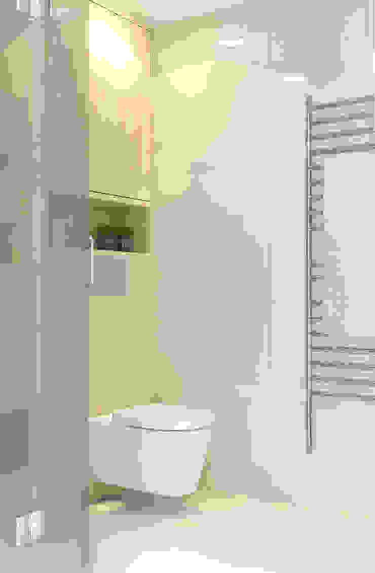 Render van de houten toiletpot ombouw Moderne badkamers van Stefania Rastellino interior design Modern