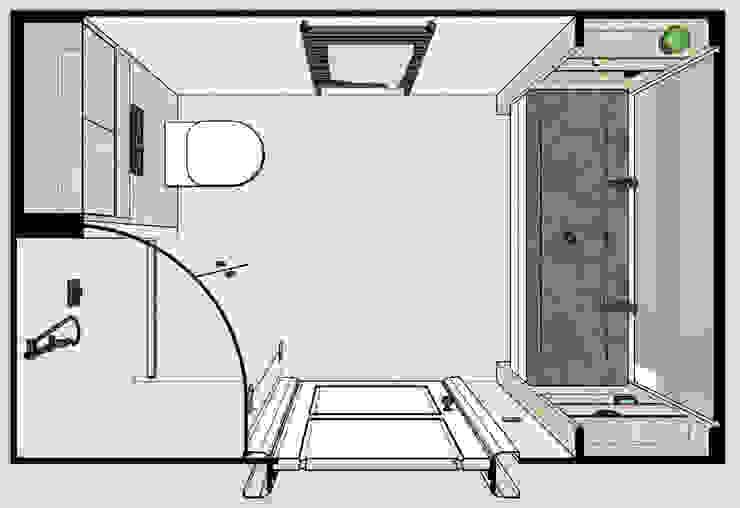 3D plattegrond van een smalle badkamer met houten ombouw Moderne badkamers van Stefania Rastellino interior design Modern