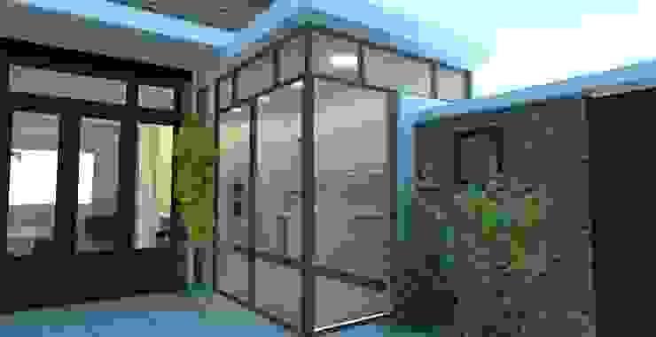 Exterieur van de keukenuitbouw met schuifpuien Moderne keukens van Stefania Rastellino interior design Modern