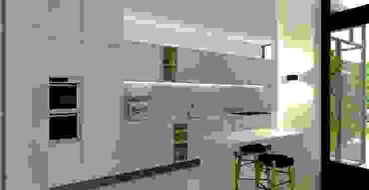 muurdoorbraak tussen keuken en eetkamer en ontwerp voor de nieuwe keuken Moderne keukens van Stefania Rastellino interior design Modern