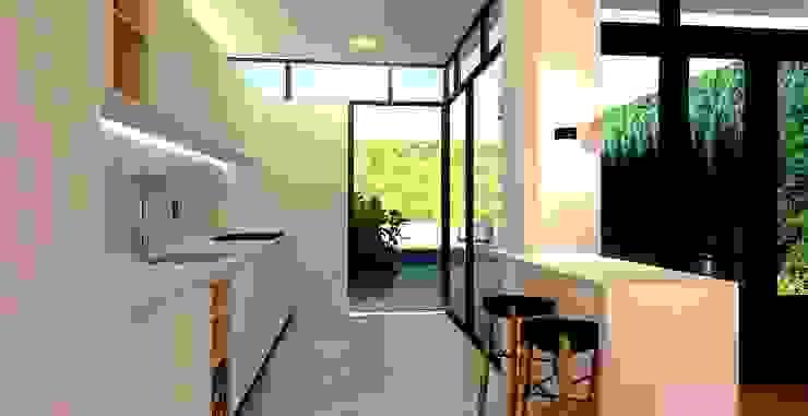 Render van het interieur van de keukenuitbouw en ontwerp van de nieuwe keuken Moderne keukens van Stefania Rastellino interior design Modern