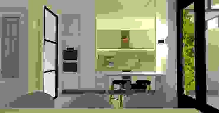 Muurdoorbraak tussen keuken en eetkamer, ontwerp voor de nieuwe keuken en vervanging van de deur door een stalen deur Moderne keukens van Stefania Rastellino interior design Modern