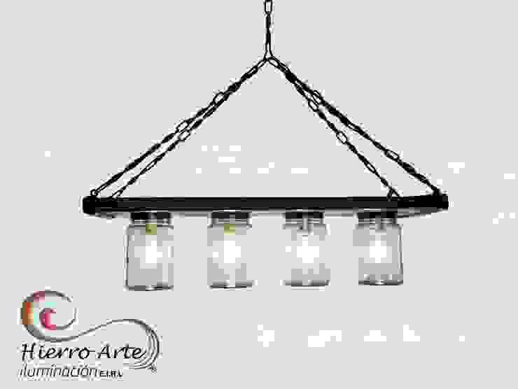 Lámpara de techo de 4l de frascos LT2100:  de estilo industrial por Hierro Arte Iluminación EIRL, Industrial Hierro/Acero
