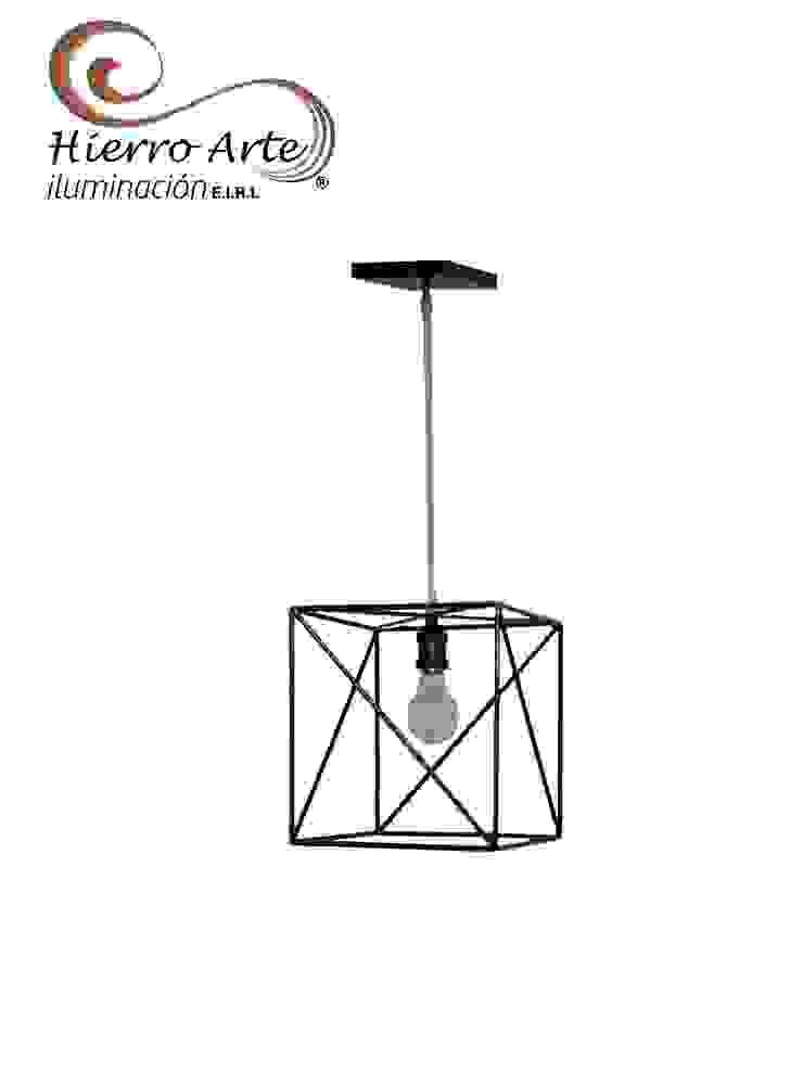 Lámpara de techo cubo LT3047:  de estilo industrial por Hierro Arte Iluminación EIRL, Industrial Metal