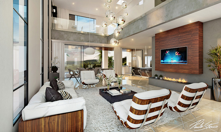 Paulo Stocco Arquiteto Ruang Keluarga Modern