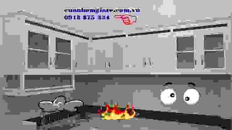 Mẫu tủ bếp nhôm kính sơn tĩnh điện màu trắng sứ đẹp giá rẻ tphcm bởi NHÔM KÍNH TIẾN CƯỜNG