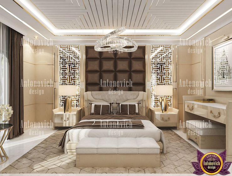 Perfect comfort in the interiors of Katrina Antonovich Modern style bedroom by Luxury Antonovich Design Modern