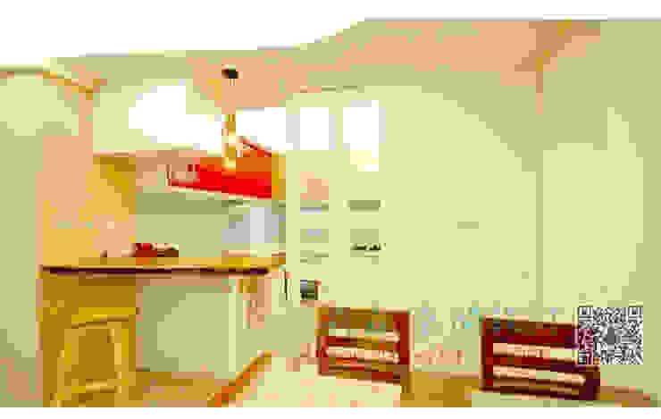 廚房 餐廳 白色烤漆實木玻璃門 根據 艾莉森 空間設計 鄉村風 實木 Multicolored