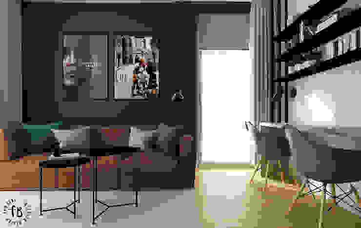 SALON KUCHNIA No 015 Femberg Architektura Wnętrz Nowoczesny salon Zielony