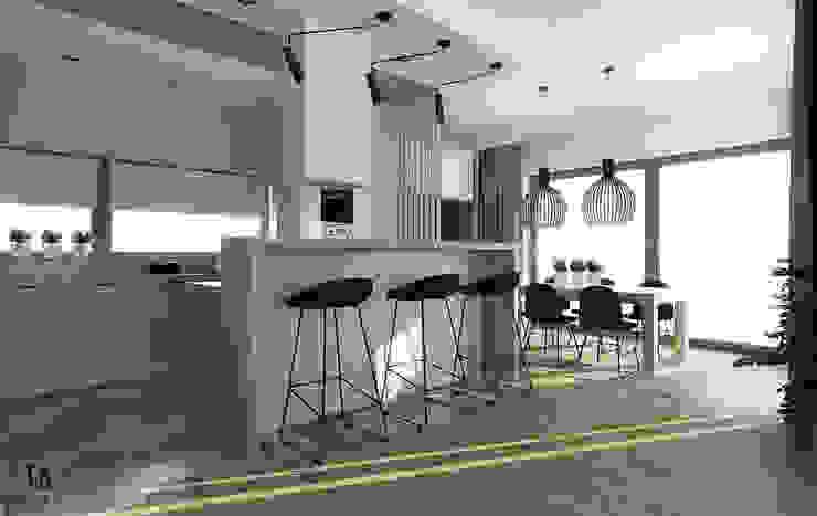 Femberg Architektura Wnętrz Built-in kitchens Grey
