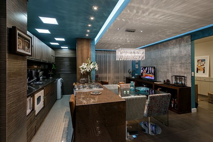 Sala, cozinha e jantar Cozinhas modernas por arquiteta aclaene de mello Moderno