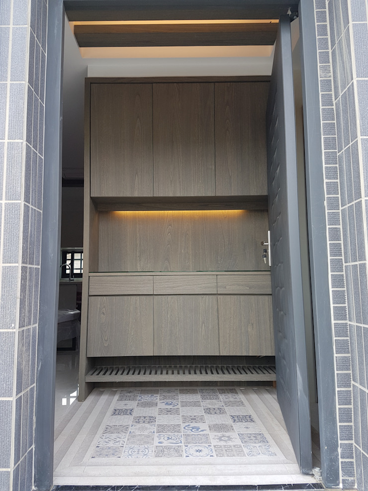 雲林虎尾H公館-自地自建 斯堪的納維亞風格的走廊,走廊和樓梯 根據 懷謙建設有限公司 北歐風