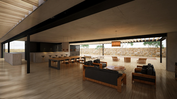 Interior Casa Mahahual Comedores modernos de Speranto Moderno Madera Acabado en madera