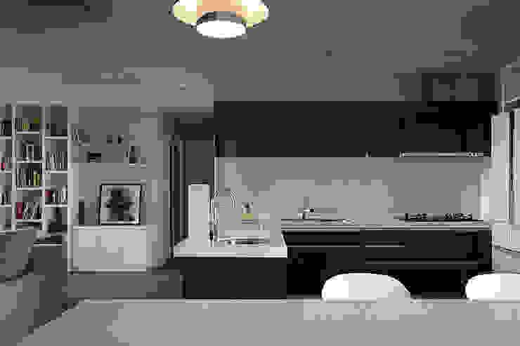 建築與詩小檔 現代廚房設計點子、靈感&圖片 根據 台中室內設計-築采設計 現代風