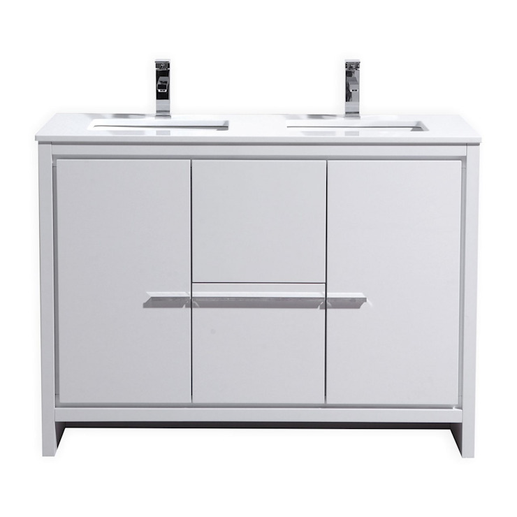 DOLCE - 48″ - HIGH GLOSS WHITE - DOUBLE SINK - SKU: AD648DGW: modern  by KubeBath, Modern