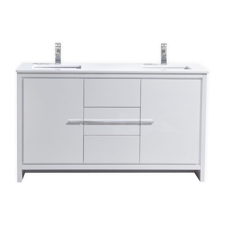 DOLCE - 60″ - HIGH GLOSS WHITE - DOUBLE SINK - SKU: AD660DGW: modern  by KubeBath, Modern
