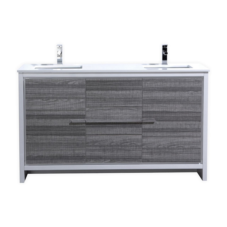 DOLCE - 60″ - ASH GRAY - DOUBLE SINK - SKU: AD660DHG: modern  by KubeBath, Modern