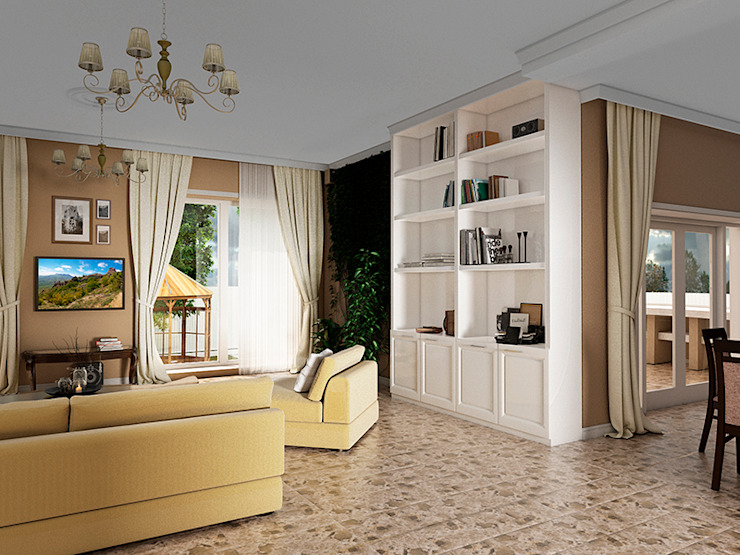 Eclectic style living room by Дизайн студия Александра Скирды ВЕРСАЛЬПРОЕКТ Eclectic