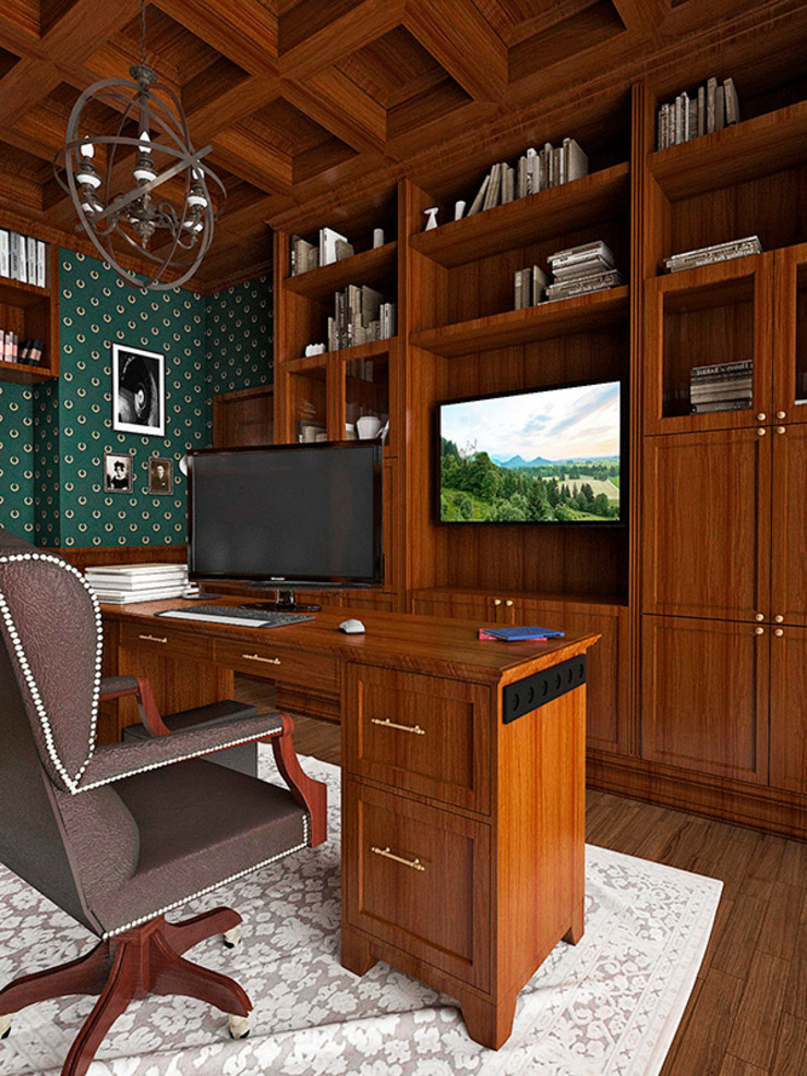Eclectic style study/office by Дизайн студия Александра Скирды ВЕРСАЛЬПРОЕКТ Eclectic