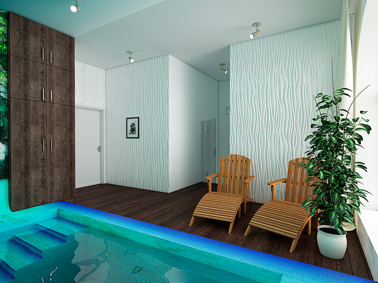 Eclectic style pool by Дизайн студия Александра Скирды ВЕРСАЛЬПРОЕКТ Eclectic