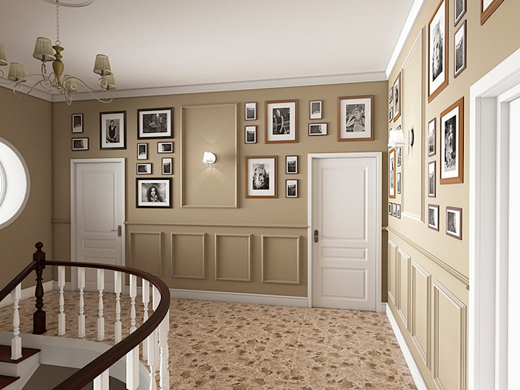 Eclectic style corridor, hallway & stairs by Дизайн студия Александра Скирды ВЕРСАЛЬПРОЕКТ Eclectic