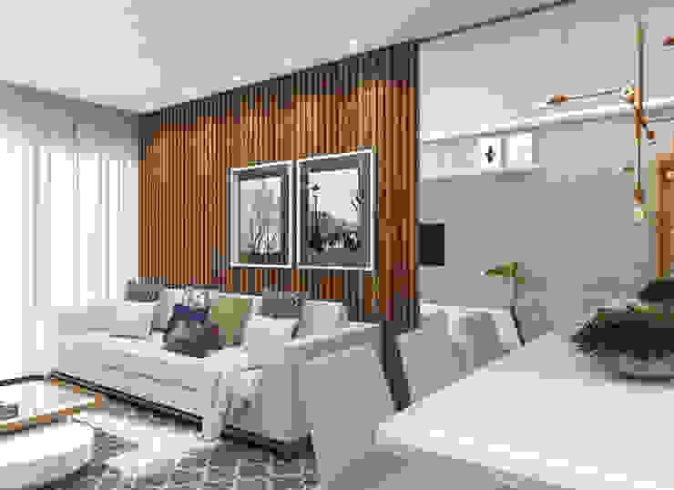 Interiores Apartamento - Juiz de Fora, MG: Salas de estar  por Thiara Garcia Arquitetura e Interiores,Moderno