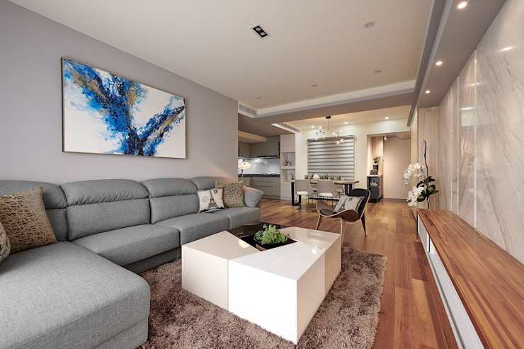 旅途 走在潮流的飯店風:  客廳 by 趙玲室內設計
