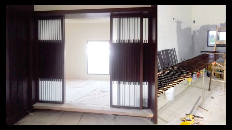 帳子門 和室 拉門 烤漆 施工 照片: 不拘一格  by 艾莉森 空間設計, 隨意取材風