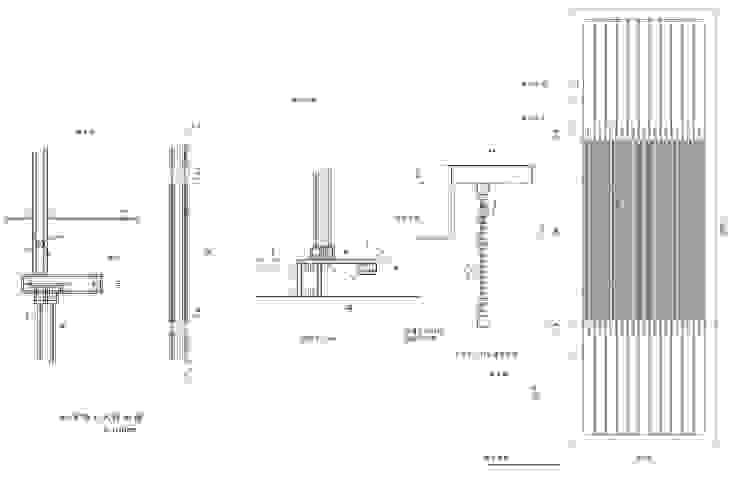 帳子門 和室 拉門 施工圖 設計圖 尺寸圖 立面圖 剖面圖: 不拘一格  by 艾莉森 空間設計, 隨意取材風