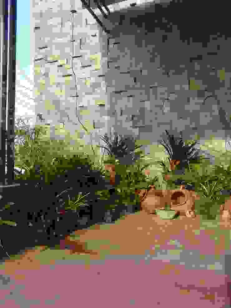 paisajismo en terraza de ESTUDIO KULUMAK Rústico Piedra