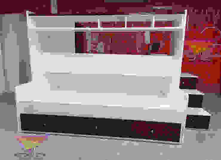 Fantástica cama nido con plataforma de camas y literas infantiles kids world Moderno Derivados de madera Transparente