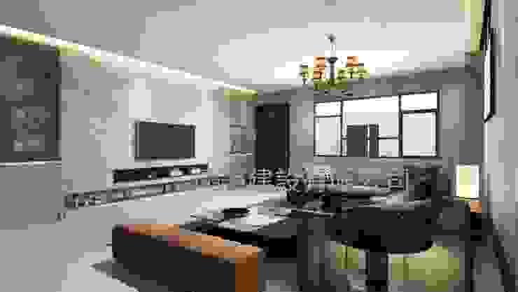 施工前室內3D示意圖: 現代  by 懷謙建設有限公司, 現代風