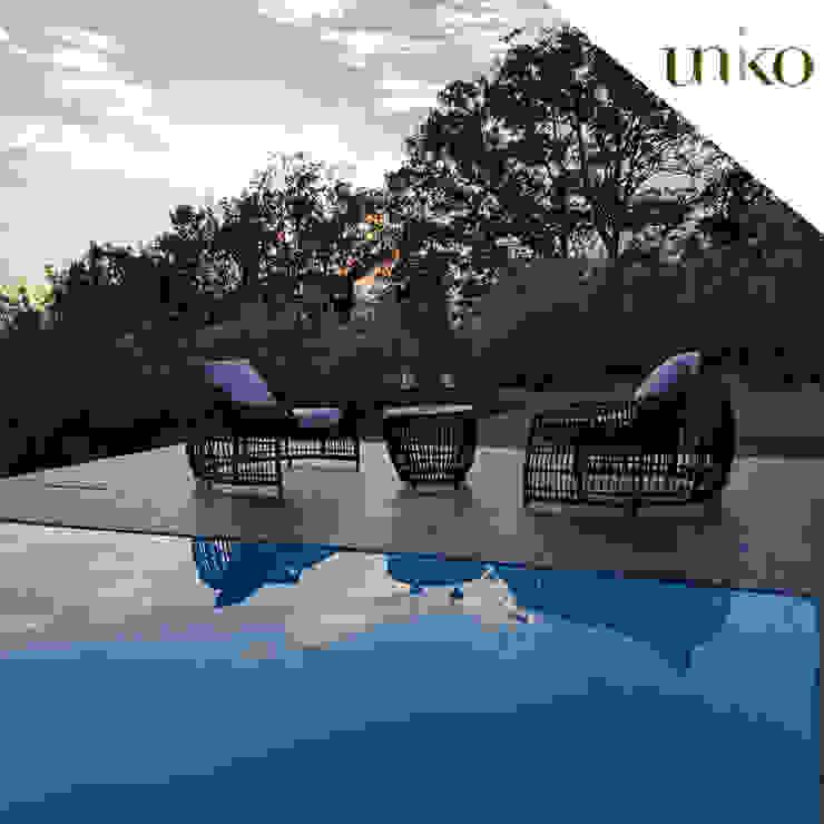 Poltrona di design in fibra tonda per arredo giardino e bordo piscina di Uniko Mediterraneo