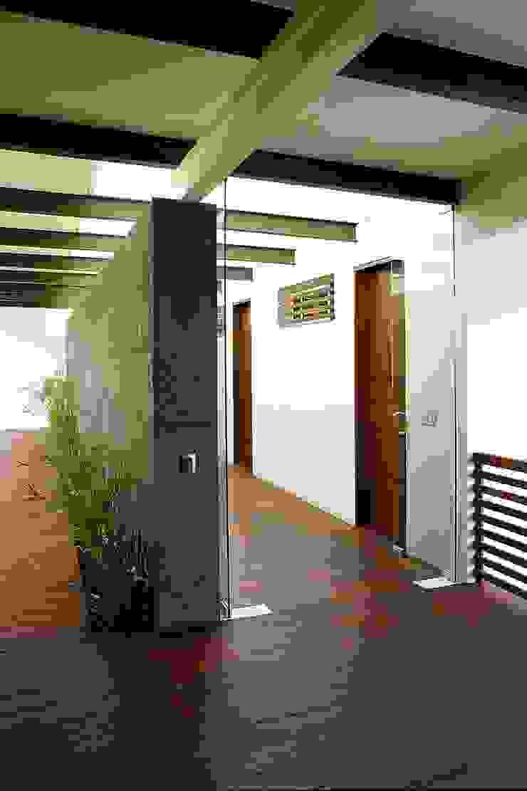 Mayúscula Arquitectos Modern corridor, hallway & stairs Wood