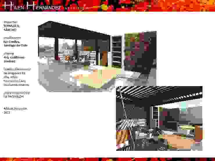 TERRAZA EN ÑUÑOA Balcones y terrazas modernos de HZ ARQUITECTOS SANTIAGO DISEÑO COCINAS JARDINES PAISAJISMO REMODELACIONES OBRA Moderno Madera Acabado en madera