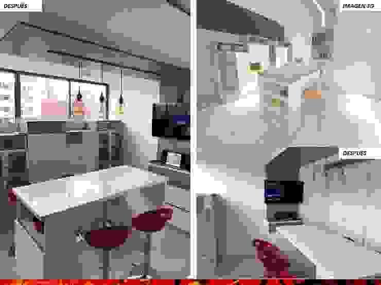 DISEÑO INTERIOR: Cocinas equipadas de estilo  por HZ ARQUITECTOS SANTIAGO DISEÑO COCINAS JARDINES PAISAJISMO REMODELACIONES OBRA, Minimalista Compuestos de madera y plástico