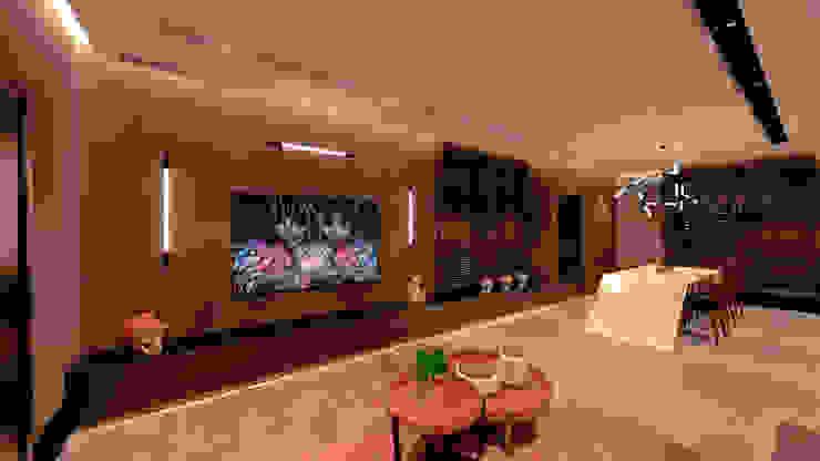 Studio Diego Duracenski Interiores Ruang Keluarga Modern Batu Bata Black