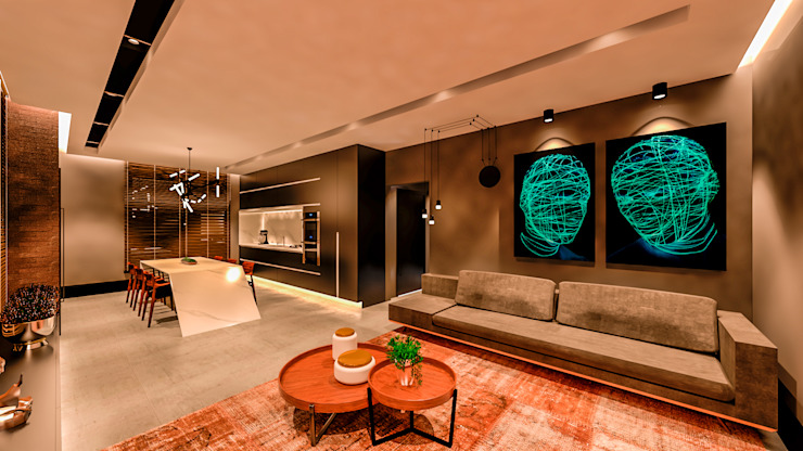 Studio Diego Duracenski Interiores Ruang Keluarga Modern MDF Black