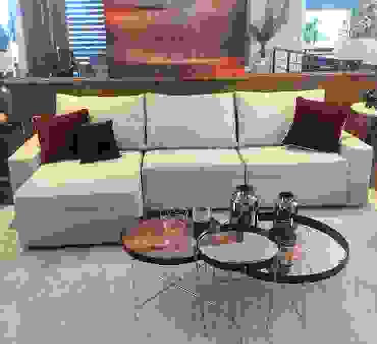 Sofá Retrátil Confortável e Lindo por Sgabello Interiores Moderno Algodão Vermelho