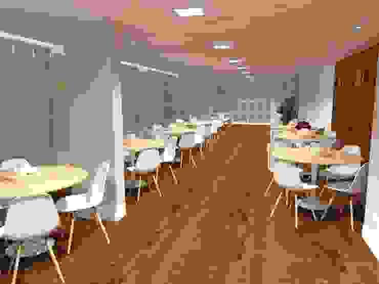 Salão de festas gourmet Paredes e pisos modernos por Aline Mozzer Arquitetura Moderno MDF