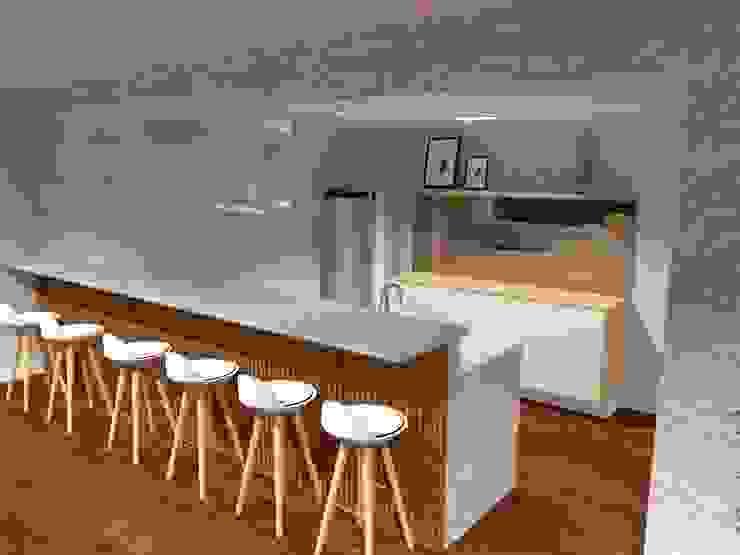 Salão de festas Gourmet - Cozinha por Aline Mozzer Arquitetura Moderno Vidro