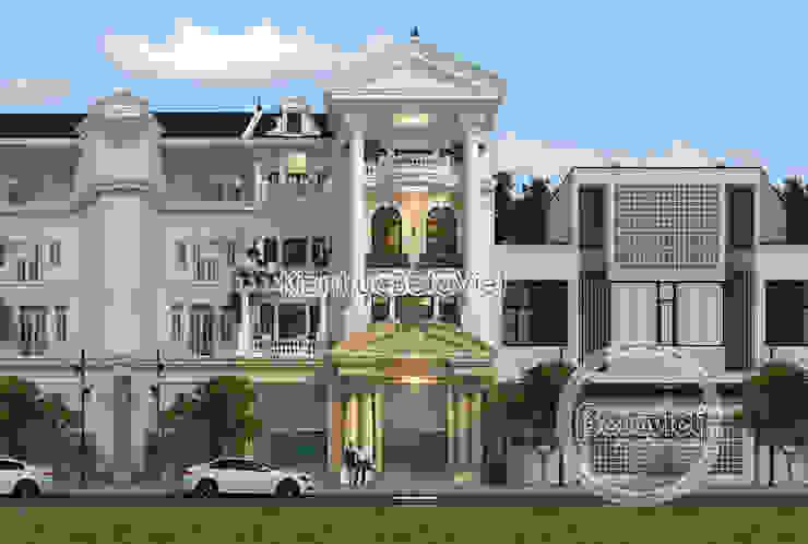 Phối cảnh mẫu thiết kế biệt thự đẹp 4 tầng Tân cổ điển đẹp lung linh (CĐT: Ông Chiến - Hà Nội) KT18050 bởi Công Ty CP Kiến Trúc và Xây Dựng Betaviet