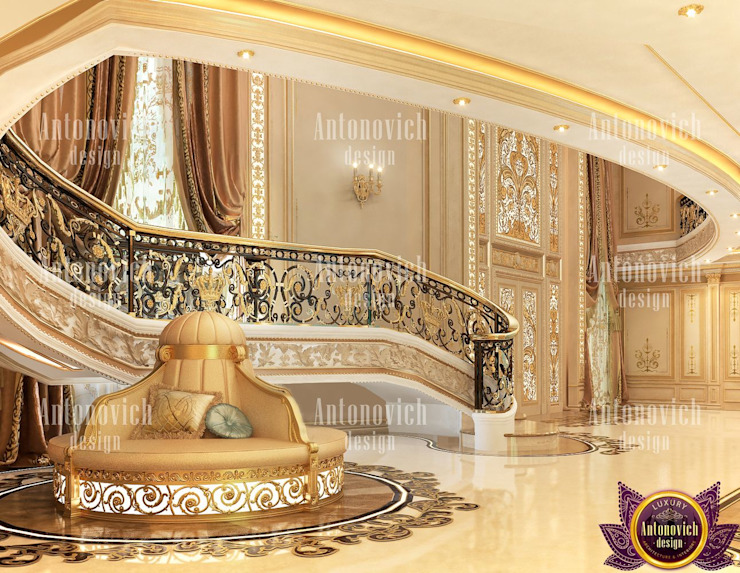 ​Fashionable interior of 2019 by Katrina Antonovich Classic style corridor, hallway and stairs by Luxury Antonovich Design Classic