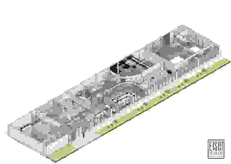 Planta y corte Isométrico 01 (Planta Distribución) Oficinas de estilo escandinavo de Eisen Arquitecto Escandinavo Vidrio
