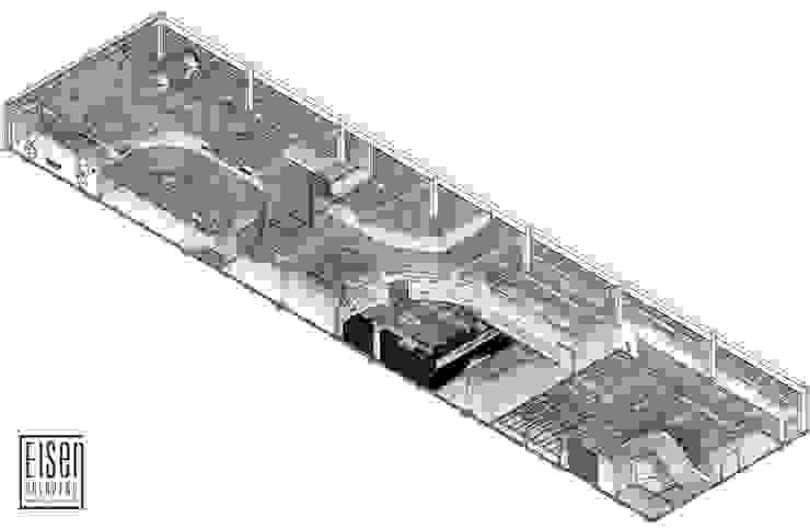 Planta Isométrica 3D del Techo.01 Oficinas de estilo escandinavo de Eisen Arquitecto Escandinavo Vidrio