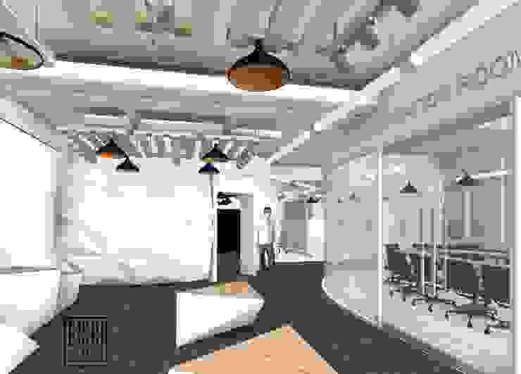 Sala de inspiración, Visualizer y Retail observados desde el Show room. Oficinas de estilo escandinavo de Eisen Arquitecto Escandinavo Madera Acabado en madera