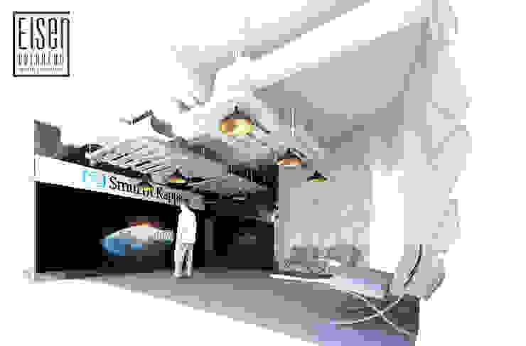Área interna del Visualizer. Oficinas de estilo escandinavo de Eisen Arquitecto Escandinavo Madera Acabado en madera